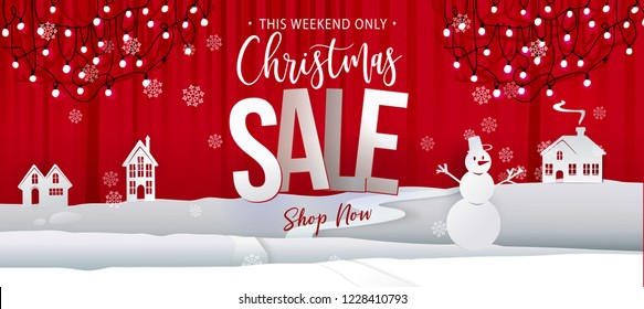 Christmas sale offer banner. Paper art cut out background graphics business offer with garland lights, houses, snowman. Vector illustration. Red and white colors. Vintage style.