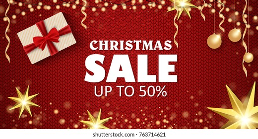 Christmas sale on a beautiful background. Christmas tree and toys, gifts. Vector illustration