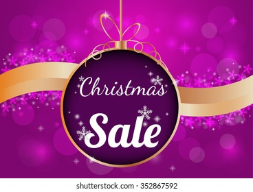 Christmas  sale on  blur  background