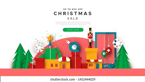 Christmas sale papercut web template illustration of toy city landscape. Business landing page or holiday discount event design with modern paper craft toys and gifts.