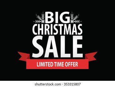 Christmas sale poster; Big Christmas sale with stylized white snowflakes, vector illustration isolated on black background