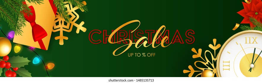 Christmas Sale poster design with sparkling colorful light bulbs, presents and clock coming to midnight on green background. Up to percent lettering can be used for posters, leaflets, announcements