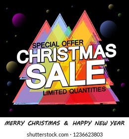Christmas Sale, poster design template, special offer, Merry Xmas and Happy New Year, discount banner, vector illustration
