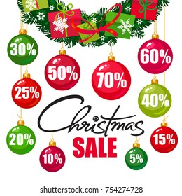 Christmas sale poster. Discount tags 10,15,20,25,30,40,50,60,70 percent off in the shape of Christmas balls. Handwritten lattering. Vector typography isolated on white background.