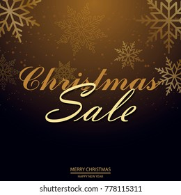 Christmas sale poster with falling snowflakes. Vector.