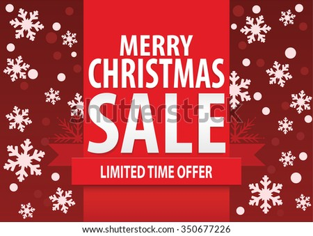0c73643c1b80 Christmas sale poster  Merry Christmas sale with stylized white snowflakes