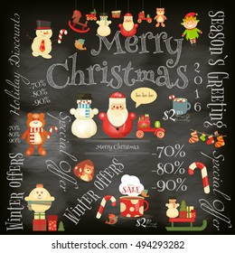Christmas Sale Poster in Retro Style on Blackboard. Chalk Text. Winter Sell-out Card. Vector Illustration.