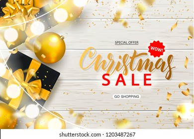 Christmas Sale poster with shiny gold Christmas balls, gift boxes, garland and serpentine on wooden background. Vector illustration. Design for invitation, banners, ads, coupons, promotional material.