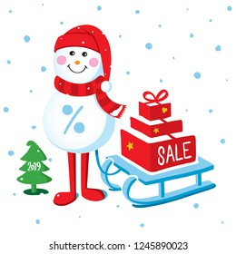 Christmas sale poster, with Snowman, gift boxes and a sledge. Santa Clause illustration for new year design.