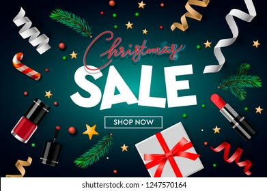 Christmas sale poster template with Christmas ornaments, gifts, nail, lipstick, stars, confetti and fir branches. Online  shopping, website poster, vector illustration.