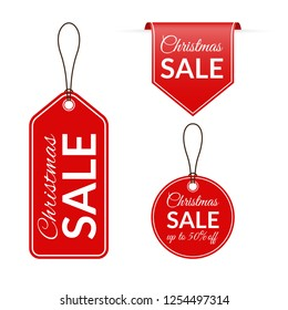 Christmas sale price tag, label, ribbon set. Xmas holidays discount badges. Price off signs. Vector illustration.