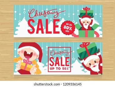 christmas sale promotion banner set vector