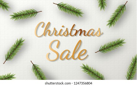 Christmas sale. Promotion Poster or banner with realistic pine branches pattern on white background. Promotion or shopping design template for Christmas or New Year. Top view Vector illustration eps10
