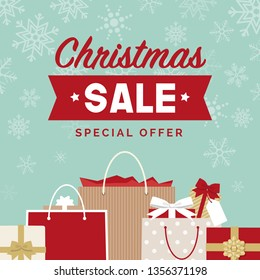 Christmas sale promotional advertisement and social media post with gifts and shopping bags