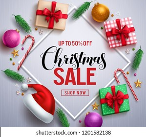 Christmas sale promotional banner with gifts and colorful christmas elements in a frame in white background. Vector illustration.\n