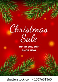 Christmas Sale promotional banner with  green pine tree branches and blurred festive lights isolated on red background.Vector illustration.