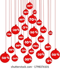 Christmas sale red balls on a string.