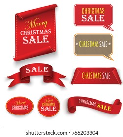 Christmas Sale, red realistic paper ribbon, banner isolated on white background.
