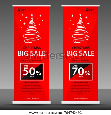 christmas sale roll banner template flyer stock vector royalty free