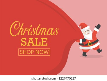 Christmas sale with Santa Claus with huge bag. vector illustration