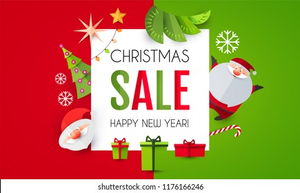 Christmas Sale Season Design Template. Paper Art. Vector illustration