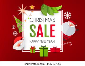 Christmas Sale Season Design Template. Paper Art. Vector illustration