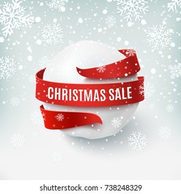 Christmas sale, snow ball with red bow and ribbon around, on winter background. Greeting card, brochure or poster template. Vector illustration.