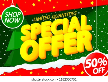 Christmas Sale, Special Offer, poster design template, Xmas discount, 50% off, vector illustration