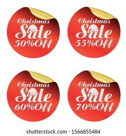 Christmas sale stickers set 50%, 55%, 60%, 70% off with Santa Claus hat.Vector illustration