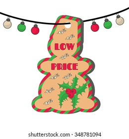 Christmas sale tag with illustration of holly with berries and inscription: Low price. EPS 10 vector, grouped for easy editing