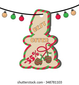 Christmas sale tag with illustration of mittens on a string and inscription: Best offer. EPS 10 vector, grouped for easy editing