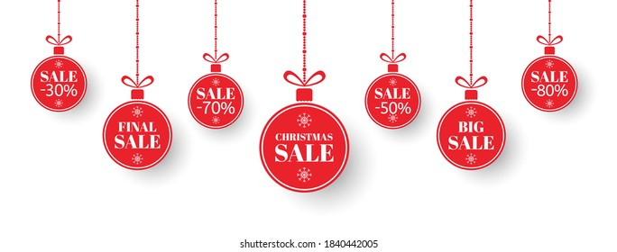 Christmas sale tag set. Red xmas balls with sign special offer, final, big sale. Merry Christmas and New Year paper label. Holiday discount, shopping promotion. Social media. Vector illustration.