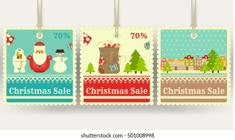 Christmas Sale Tags with Xmas Symbols - Santa Claus, Gifts, Snowman. Winter Sell-out Labels Collection. Vector Illustration.