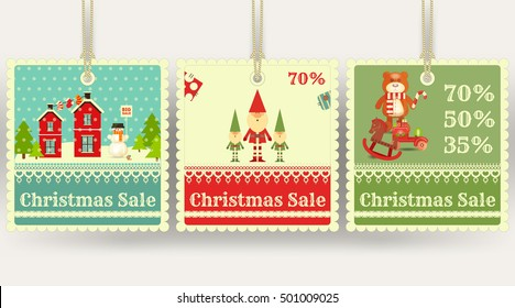 Christmas Sale Tags with Xmas Symbols - Santa Claus, Gifts, Toys. Winter Sell-out Labels Collection. Vector Illustration.