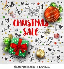 Christmas Sale Template Realistic Fir Tree Stock Vector Royalty