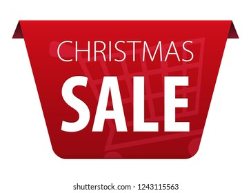 Christmas Sale text on red tag ribbon banner with shopping cart symbol icon isolated on white background. Vector illustration
