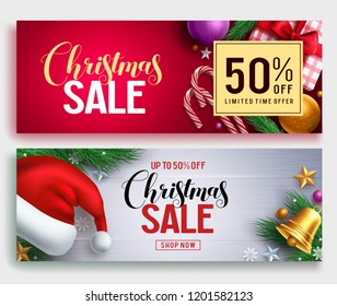 Christmas sale vector banner set with sale discount text and colorful christmas elements in red and white background. Vector illustration.