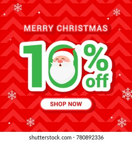 Christmas Sale Vector illustration, Cute Santa Claus with 10% discount on red background