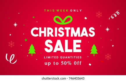 Christmas Sale Vector illustration, Typography combined in a shape of gift box with confetti on red background