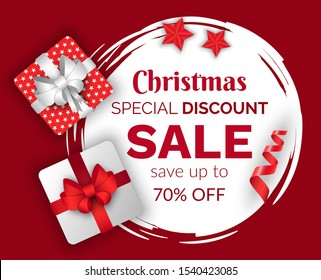 Christmas sale vector, promotional banner with presents and stars decor. Winter holidays discounts and sellout in stores and shops. Giftbox with ribbons and bows. Proposals at market for clients