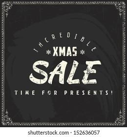 Christmas sale vintage chalk text label on a blackboard