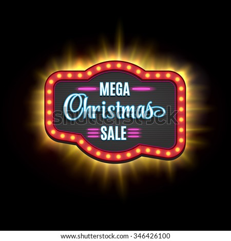 Christmas Sale Vintage Light Frame Shining Stock Vector Royalty