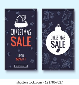 Christmas sale web banner template. Colorful banners with hand draw pattern. Winter promotion vertical coupon. Applicable for discount flyer, roll up, poster. Vector illustration.