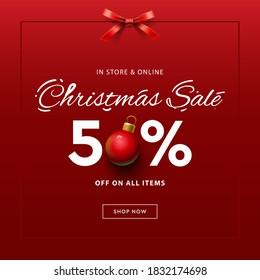 Christmas Sale web banner template. Vector illustration