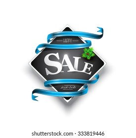 Christmas sales banner with blue ribbons, Vector illustration, EPS 10