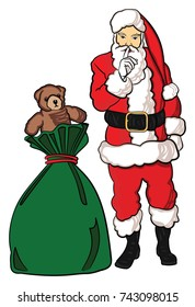 Christmas Santa Claus with a bag of toys that has a teddy bear sticking out of the top