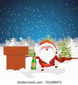Christmas Santa Claus with a bottle of champagne and glasses celebrate on the roof of the house to the will of the chimney. Winter night, fir forest. Cute vector character.