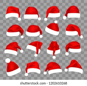 Christmas Santa Claus caps set, vector illustration. Isolated over transparent background. Realistic Santa's hat for xmas festive cards, web, print, banners, etc