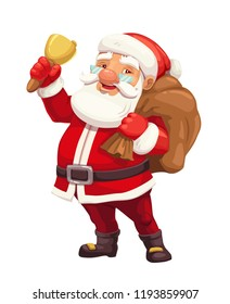Christmas Santa Claus cartoon character with bag of presents and gifts, red suit, hat and golden bell. Xmas and New Year winter holidays vector design for greeting card or festive postcard