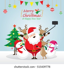 Christmas, Santa Claus and Friends Selfie, Snowman, Snowgirl, Reindeer, Pine Tree. Happy New Year